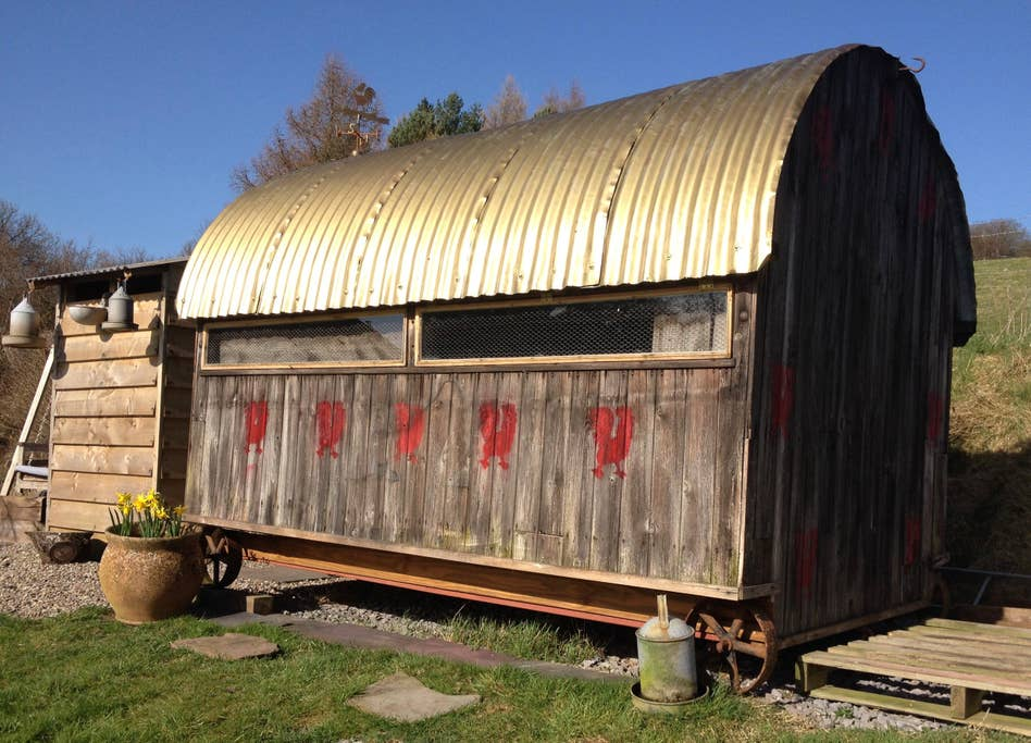 Converted Chicken Shed Glamping in Brecon Beacons